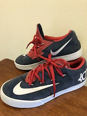 2a0350e0f61b Nike Size 6.5Y KD Kevin Durant Vulc Obsidian Blue White Red Skate Shoes  Sneakers