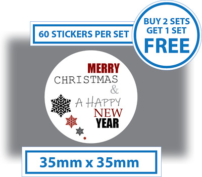 60 x Merry Christmas Stickers Labels Card Decorating Present Seals white 35mm