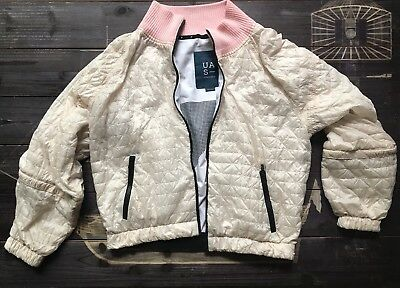 Under Armour Womens Small Jacket Pink Puffy Zip Up Activewear Nylon Zip Sleeve