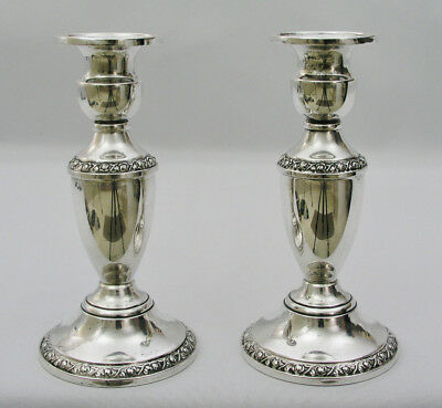"""(2) F. B. Rogers - Margaret Rose 261 - 6"""" Sterling Silver Weighted Candlesticks"""
