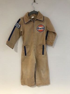 Vintage Kids Costume 18-24 Months Baby Boys Mechanic Gas Attendent Gulf Jumpsuit