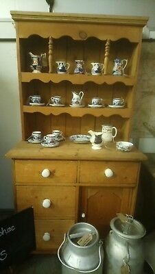 Antique small pine kitchen dresser with cupboard and deep drawers