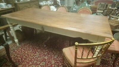 Large Laura Ashley wooden painted farmhouse kitchen dining table with drawer