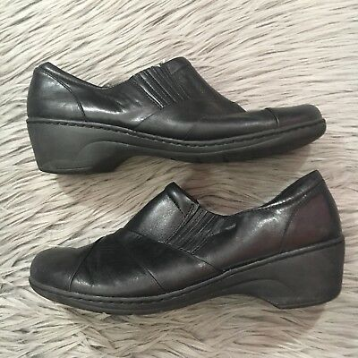 Clarks Channing Essa Womens 11M Black Leather Zip Slip On Loafers Work Shoes