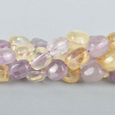 14mm AMETRINE Nugget Beads, Amethyst and Citrine Natural Gemstone strand gem0179