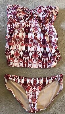 2 Piece Maternity Bathing Suit Size M. A Pea In The Pod. Pink White.