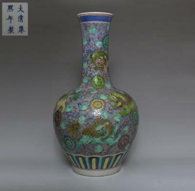 Fine Old Chinese Famille Rose Porcelain Vase Kangxi Marked 42Cm (538)
