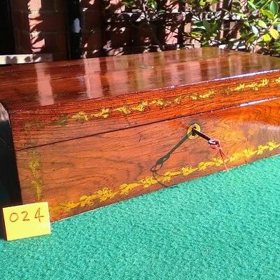 Antique Victorian large writing slope with gold gilding and brass escutcheon.024