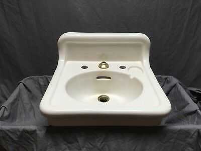 Antique Ceramic White Porcelain Bath Wall Sink Old Crane Vtg Trenton 563-18E
