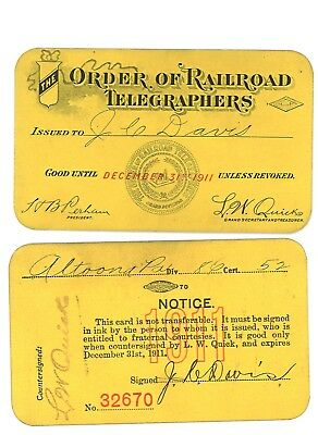 Order of Railroad Telegraphers ID Card, Constitution & Application 1910-1911