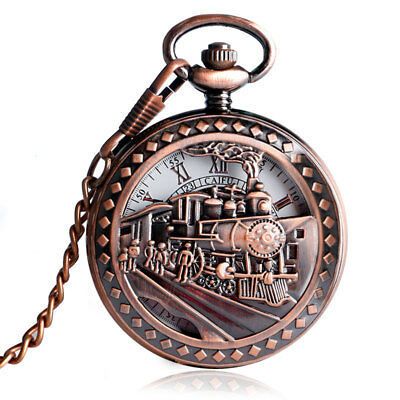 Vintage Hollow Locomotive Mechanical Hand Wind Women Pocket Watch Chain Pendant