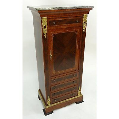 Tall Antique Style  French Louis XVI Style Gilt Brass Inlaid Cupboard