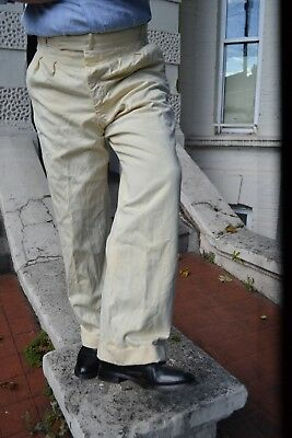 PAIR OF 1940s WHITE VINTAGE TROUSERS.