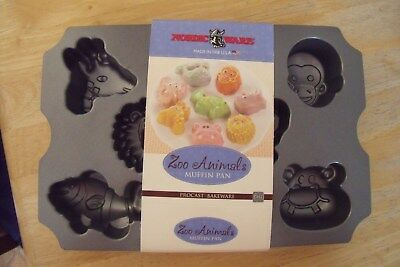 Nordic Ware Non Stick Zoo Animals Muffin Pan 8 Different Shapes **brand New**