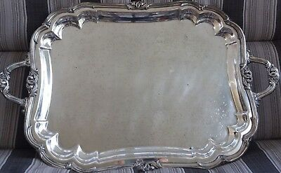 """Large 27"""" Vintage Silverplate Butlers Serving Tray Footed Handle"""