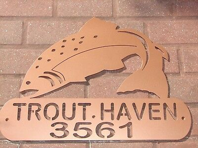 Trout Metal Home Address Sign Art Wall Decor House Fish