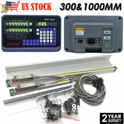 """2 Axis 12"""" 40"""" Linear Glass Scale TTL Digital Readout DRO Display Milling Lathe"""