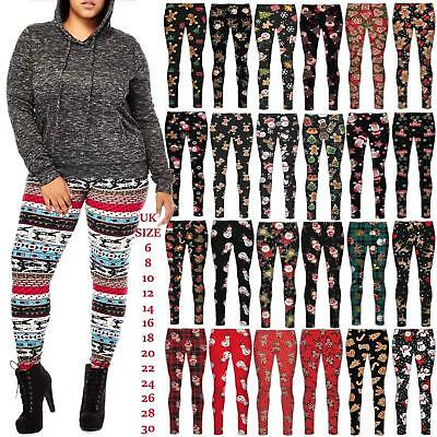 Womens Christmas Legging Ladies  Santa Reindeer Tartan Candy Stick Xmas Pants