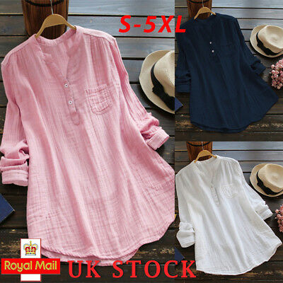 Women Baggy Blouse Top Ladies Holiday Plain Long Sleeve Casual T shirt Plus Size