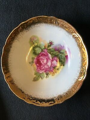 "VNTG Porcelain 6.5"" Gold Lusterware Trim China Bowl 2"" Deep English Rose Pattern"