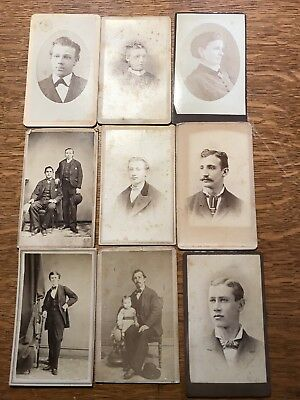 Antique small Cabinet Card lot NY And NJ Nine Cards (9)