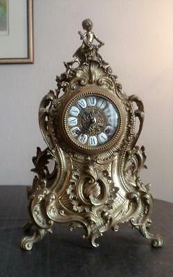 Large Vintage Bronze Mantel Clock by Franz Hermle Germany. WORKING.