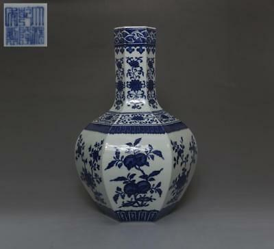 Rare Chinese Old Blue And White Porcelain Vase With Qianlong Marked 36Cm (529)