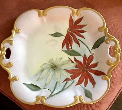 Antique Porcelain Festive Poinsettias  Christmas Dessert Platter Serving Tray