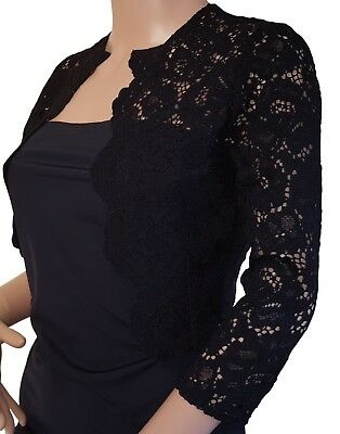 Ladies corded Lace scalloped front , 3/4 sleeve Bolero Jacket Sizes UK 8-20