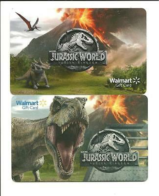 Walmart Lot/2 Diff Jurassic World Fallen Kingdom Gift Card No$ Value Collectible