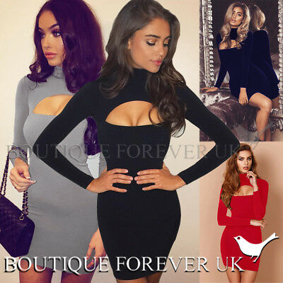 UK Womens Cut Out Bodycon Party Mini Dress Ladies Long Sleeve Evening Dress 6-12