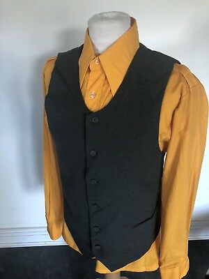 VINTAGE 70's GREY MOD DANDY DRESS WAISTCOAT VEST MEDIUM