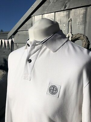 1bf83d62df3 Stone Island Polo White Long Sleeve  genuine  Football Casuals Size Large