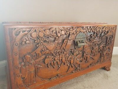 Large Carved  Camphor Wood Oriental Chest / Trunk,