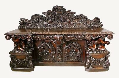 Magnificent Walnut Oak Antique Carved Server English,Similar to Blackamore