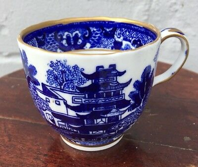 Antique Worcester Grainger & Co Old Willow Pattern Blue White Cups x 2 c1860
