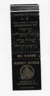 Vintage Matchbook Cover KENNY ACRES Woodbridge NJ S4544