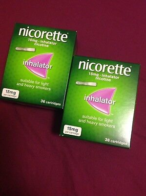 Nicorette 15 mg inhalator 2x36 cartridges (72 in total) expire 2020