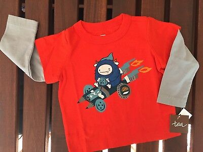 Boys New Tea Collection Shirt Layered Look 3 6 Months Orange Gray Monster