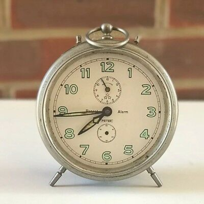 Vintage Repeat Alarm Clock Peter Germany Large Desk Table Clock