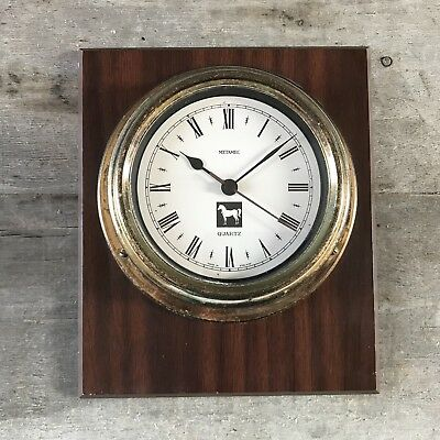 Vintage Wall Clock Metamec England Maritime Nautical Quartz Clock Wooden Case