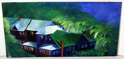 "20"" Oil Painting Canvas Lucille Bodiford Night View Old Village Lights Windows"