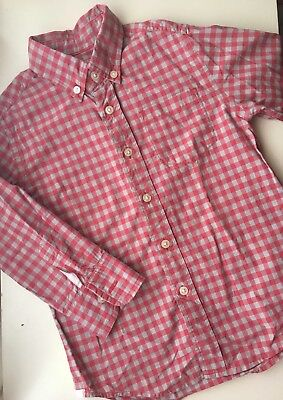 CREWCUTS Red & Gray Gingham Check Button Down Dress Shirt SIZE 3
