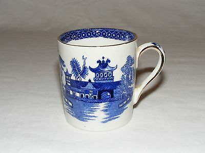 Vintage Burleigh Bone China English Demi Tasse Tea Cup   Blue Willow Pattern
