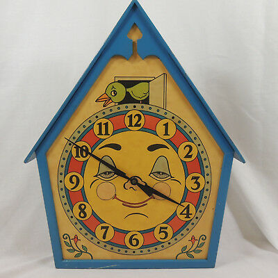 Vintage German Bird House Faux Cockoo Clock Smiling Face Blue Wood 53 cm