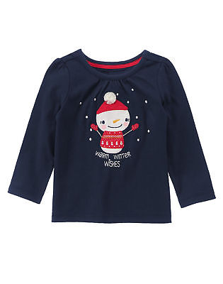 NWT Gymboree HOLIDAY SHOP SZ 2T Snowman Warm Winter Wishes Top Shirt Girl