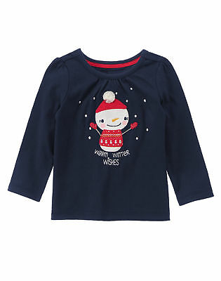 NWT Gymboree HOLIDAY SHOP SZ 3T Snowman Warm Winter Wishes Top Shirt Girl