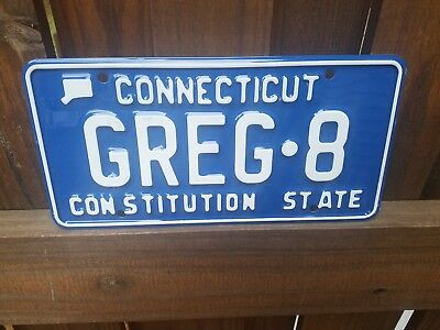 Vintage Automobile 1990's CT Connecticut GREG 8 Custom Vanity License Plate