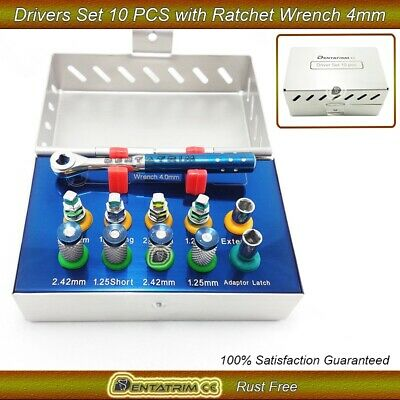 Dental Implant Hand Drivers,Hex,Screws & Wrench Ratchet 4.0mm 11 Pcs Kit New CE