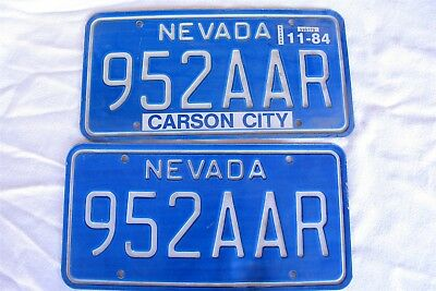 Vtg 1980's set of Nevada license plates Nice